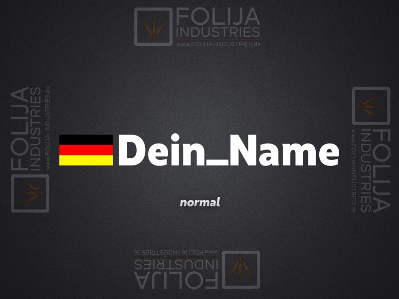 Deutschland Flagge + Name (max. 15 Zeichen/ Höhe: 2cm)