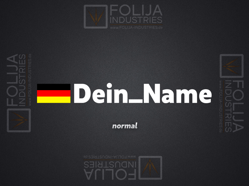 Deutschland Flagge + Name (max. 5 Zeichen/ Höhe: 3cm)