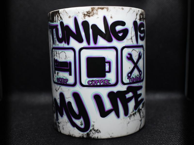 TUNING IS MY LIFE Tasse im coolen Werkstattlook (Lila/Mintv2)